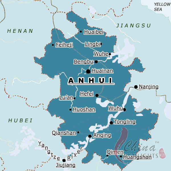 Map of Anhui Province
