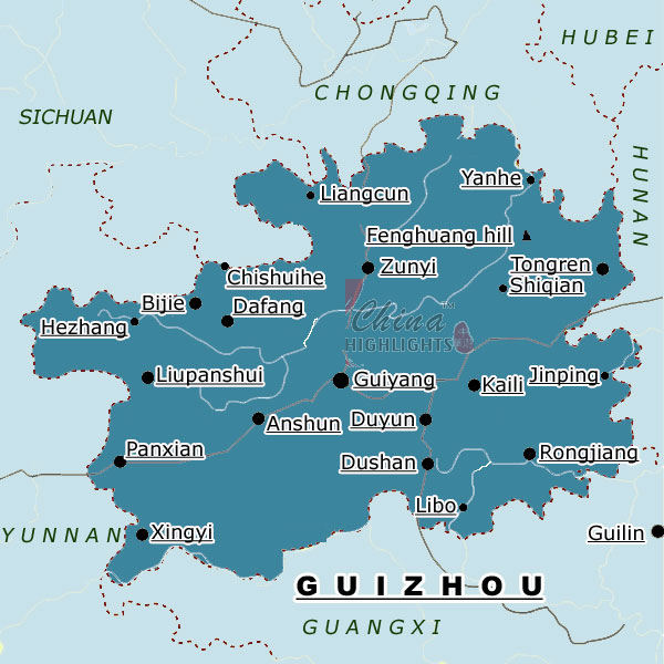 Map of Guizhou Province