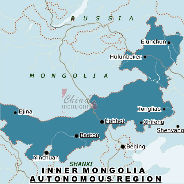 Map of Inner Mongolia Region